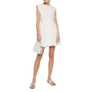 MAJE RITE STRETCH-CREPE MINI DRESS IN WHITE